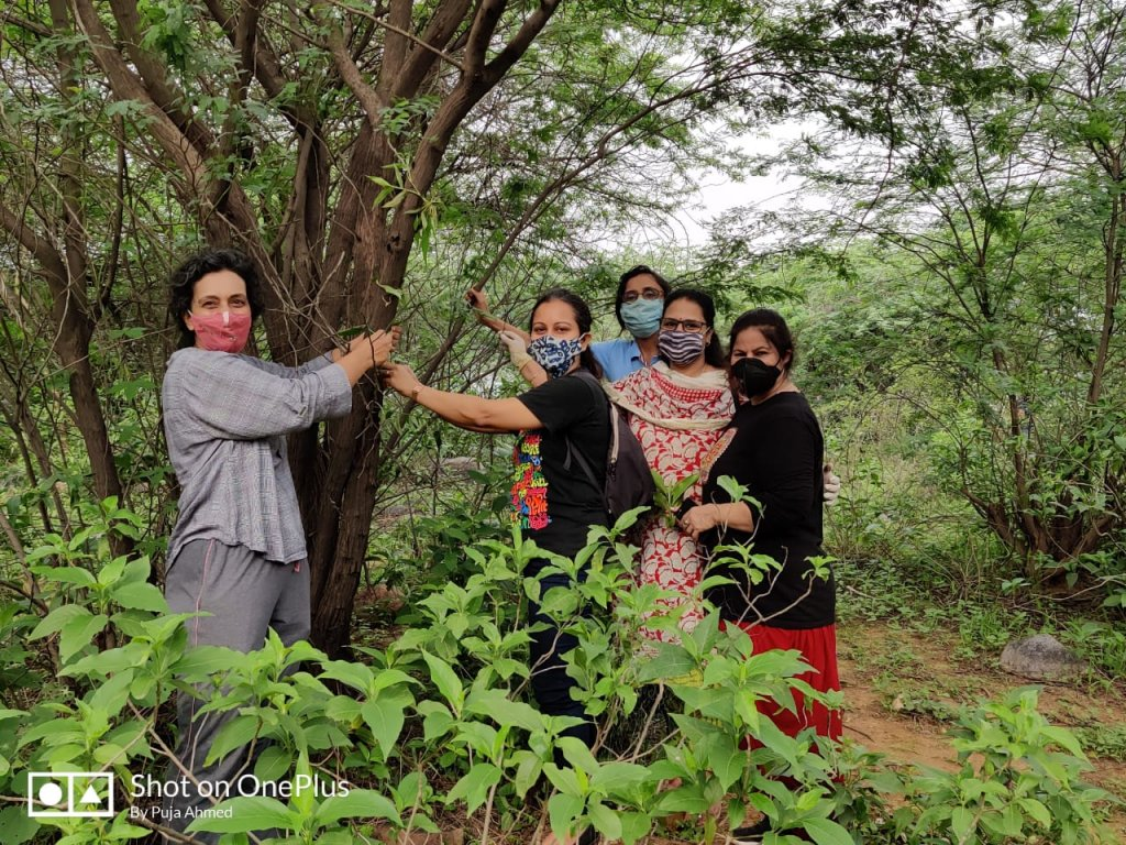 Ladies use leaf vines to tie rakhees to the trees in the Aravalli forests behind Suncity in Gurugram