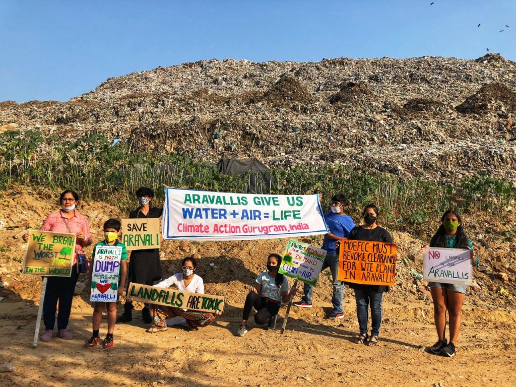 climate strikers protest in gurugram forest